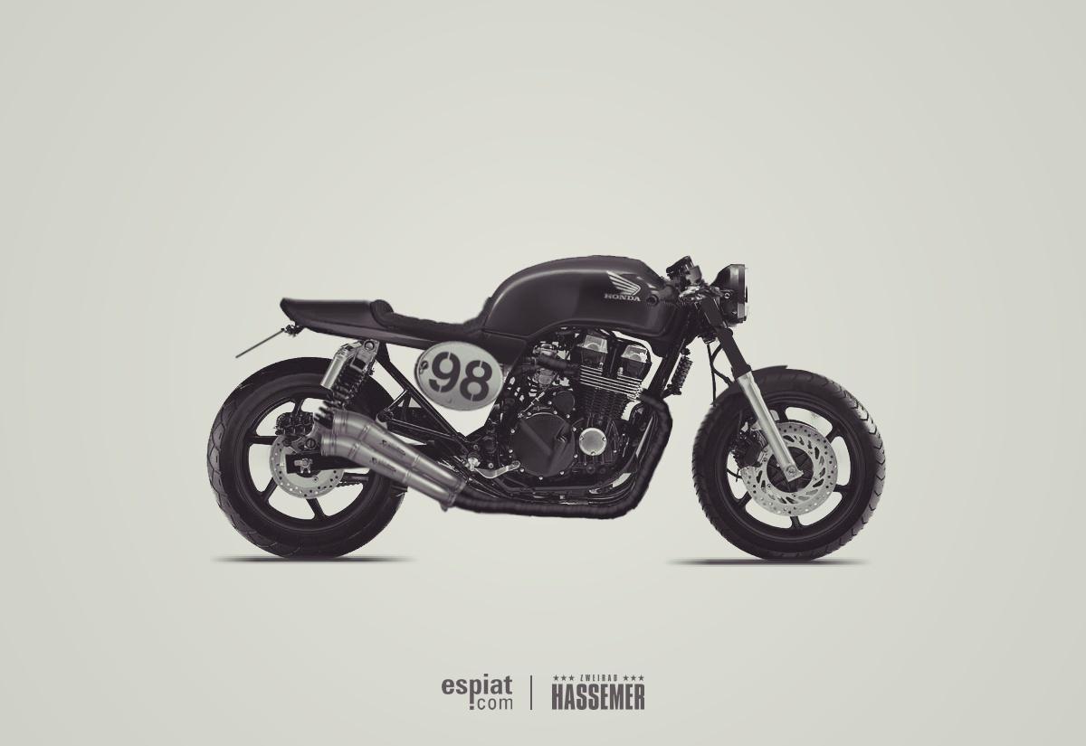 Cafe Racer Honda CB750 seven fifty oldschool Umbau Design Entwurf von Daniel Schuh